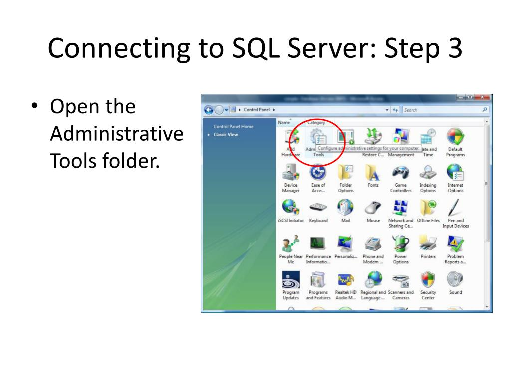 Connecting to SQL Server: Step 3