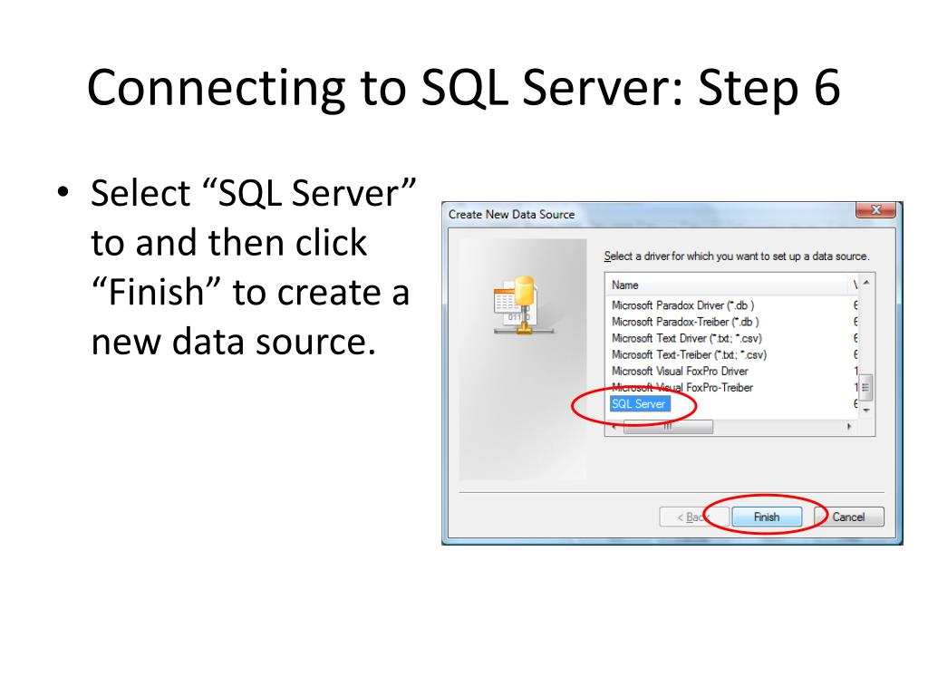 Connecting to SQL Server: Step 6