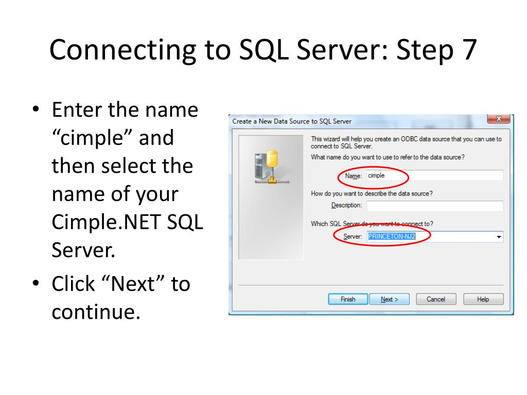 Connecting to SQL Server: Step 7