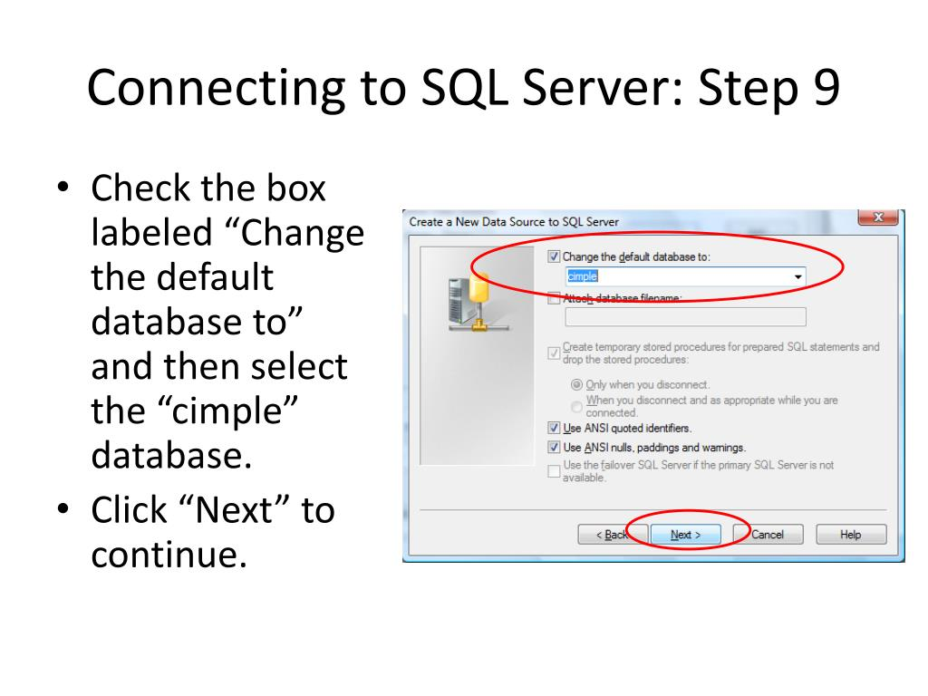 Connecting to SQL Server: Step 9