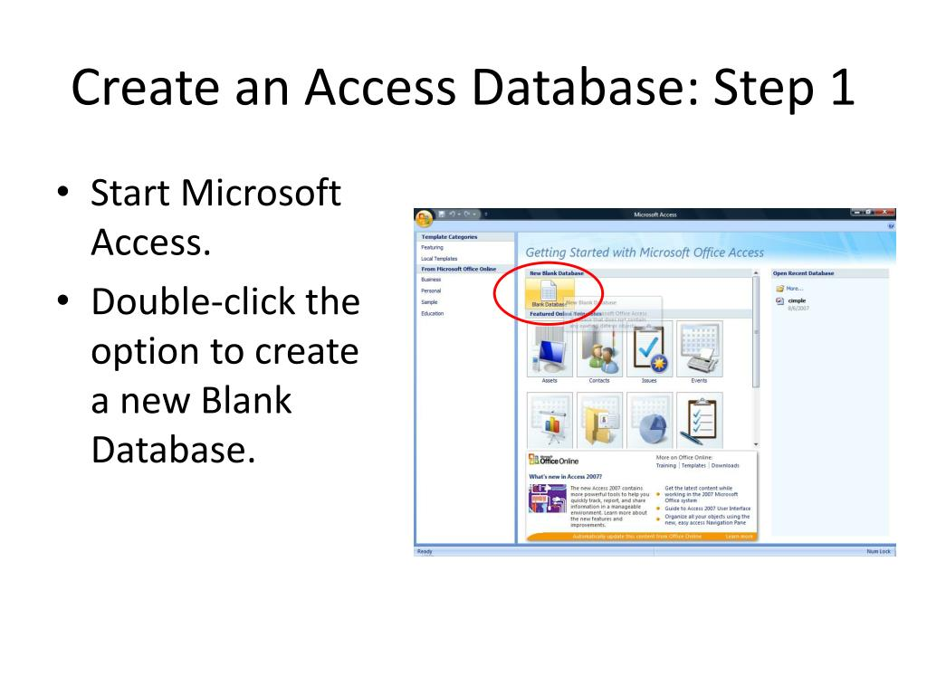 Create an Access Database: Step 1