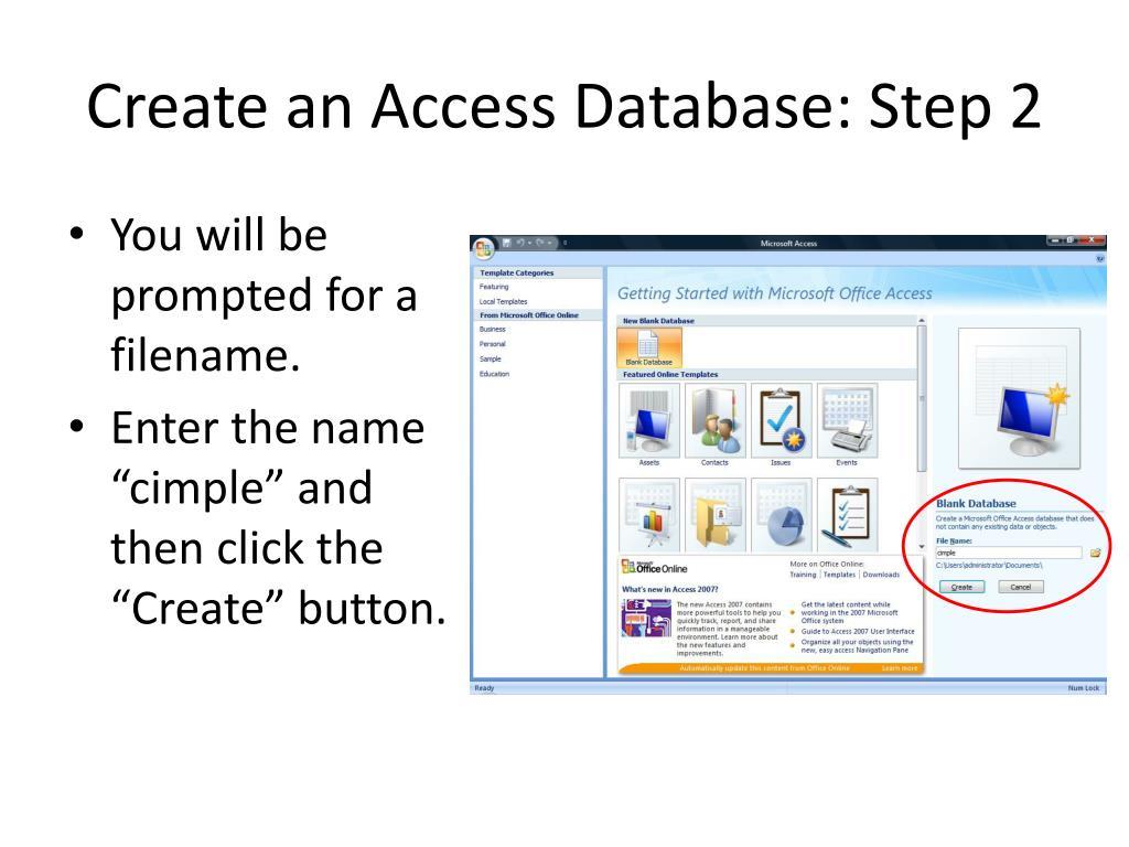 Create an Access Database: Step 2