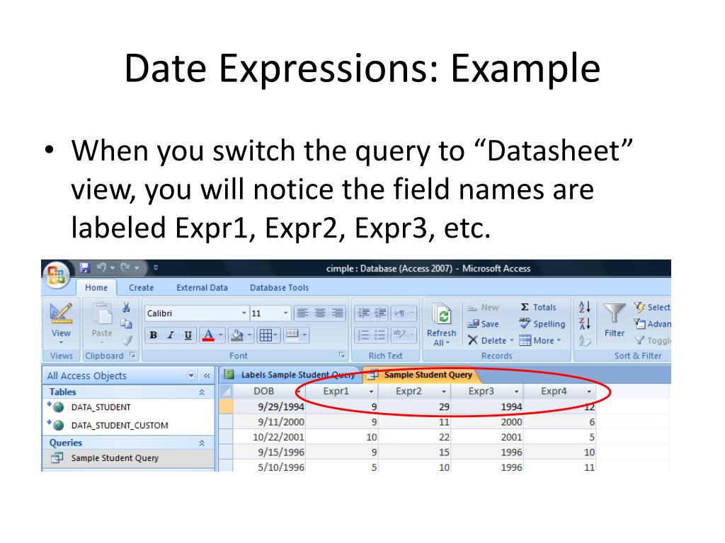 Date Expressions: Example