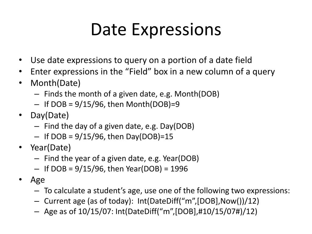 Date Expressions