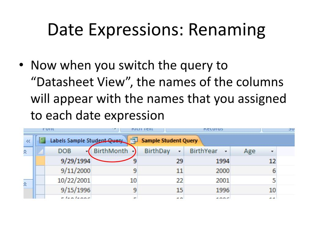 Date Expressions: Renaming