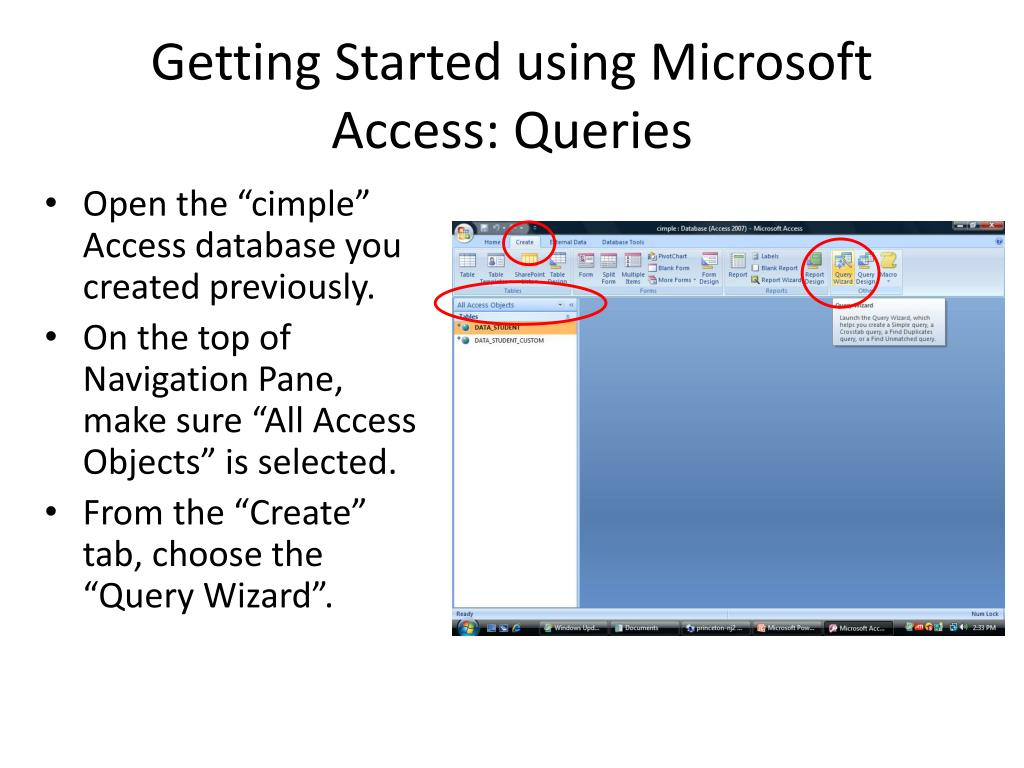 Getting Started using Microsoft Access: Queries