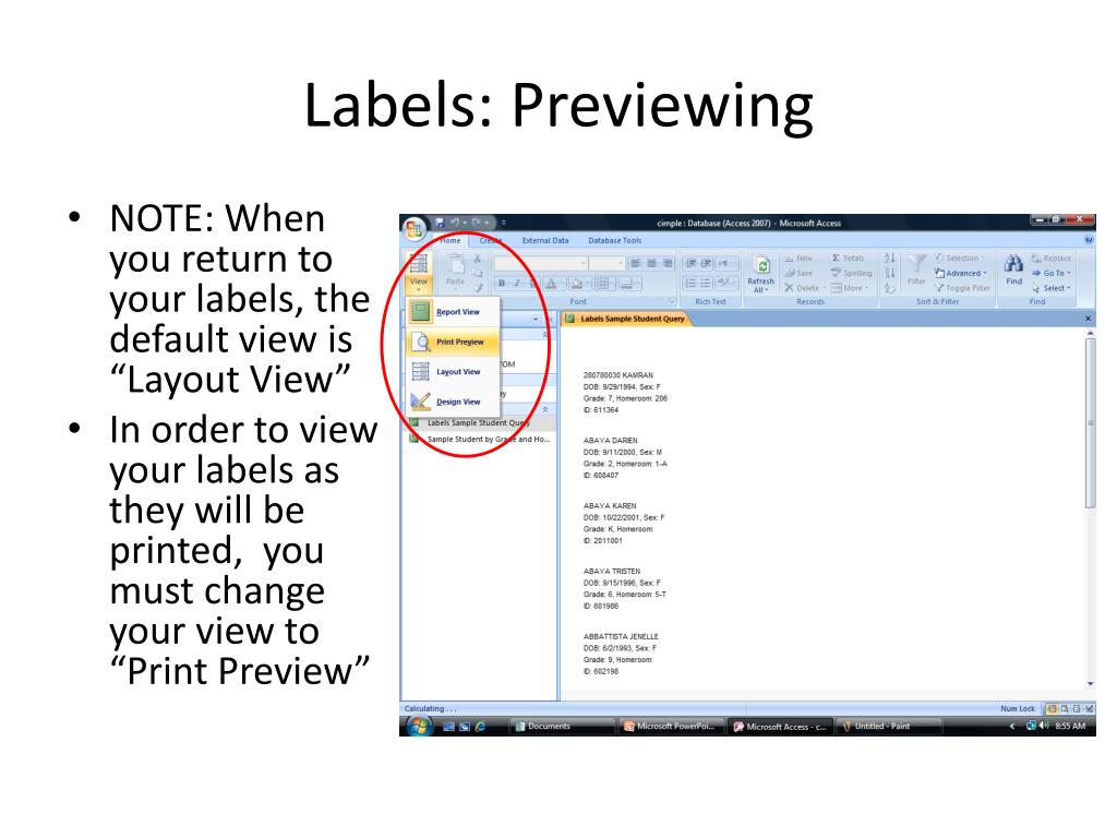 Labels: Previewing