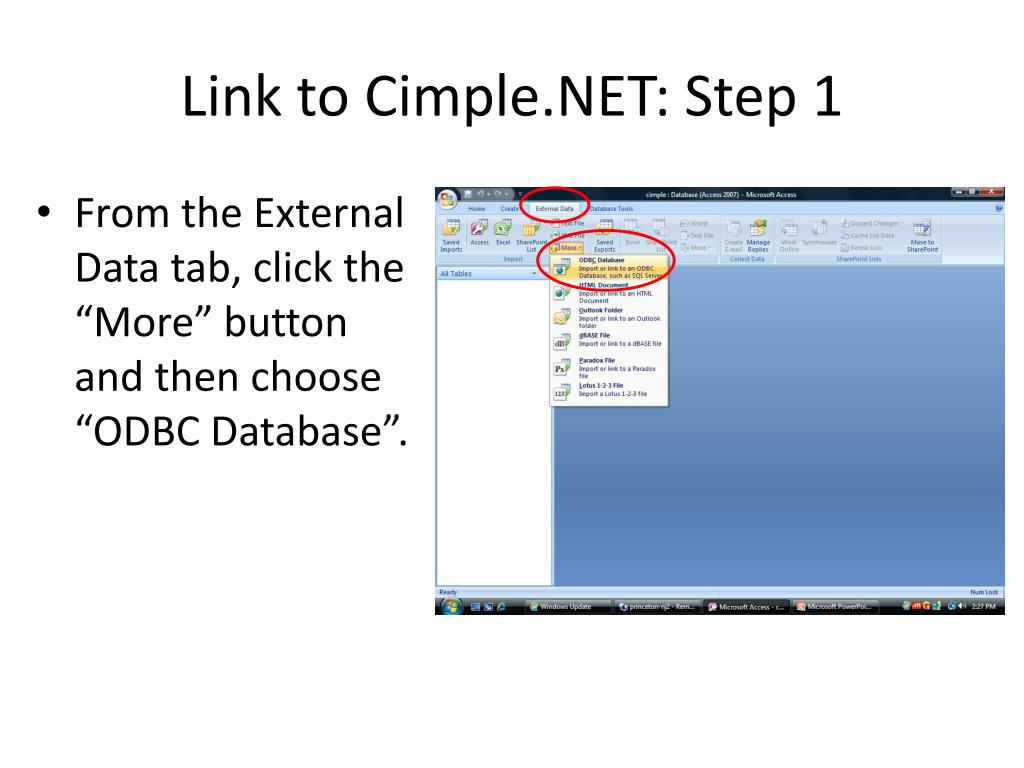Link to Cimple.NET: Step 1