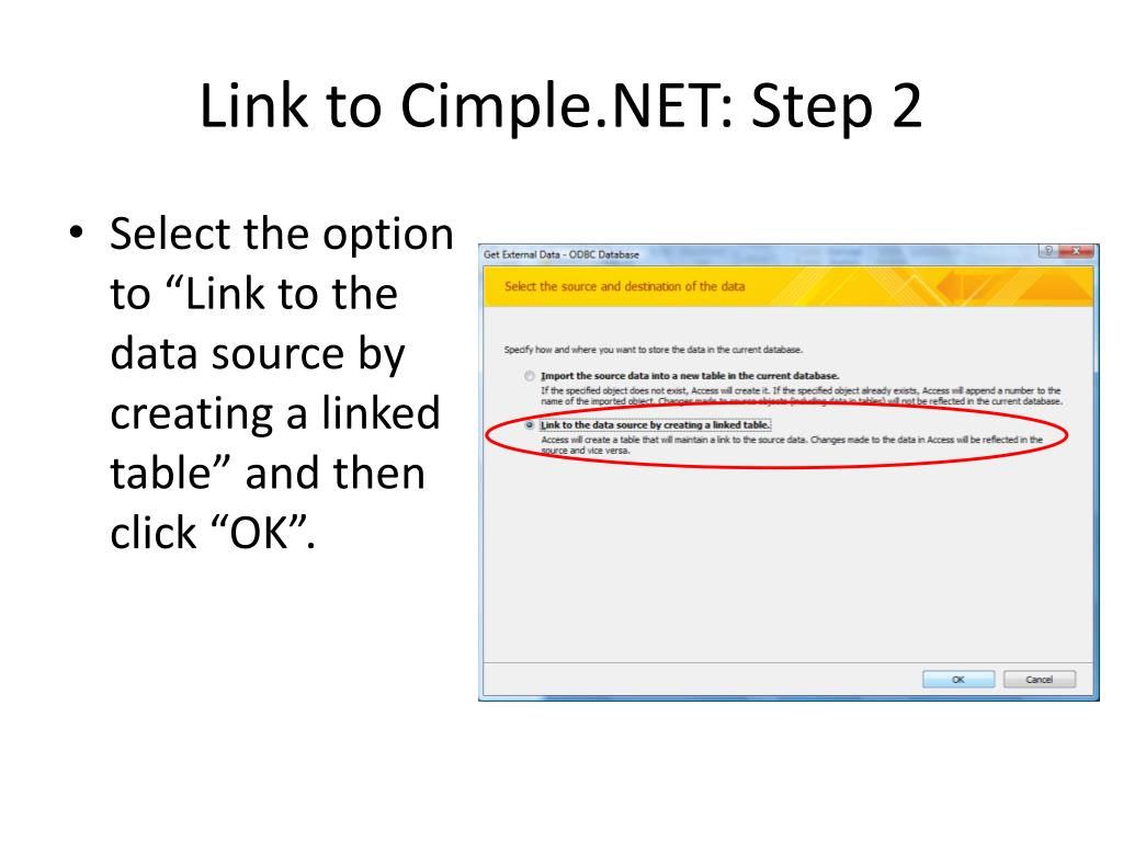 Link to Cimple.NET: Step 2