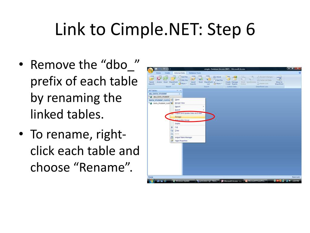 Link to Cimple.NET: Step 6