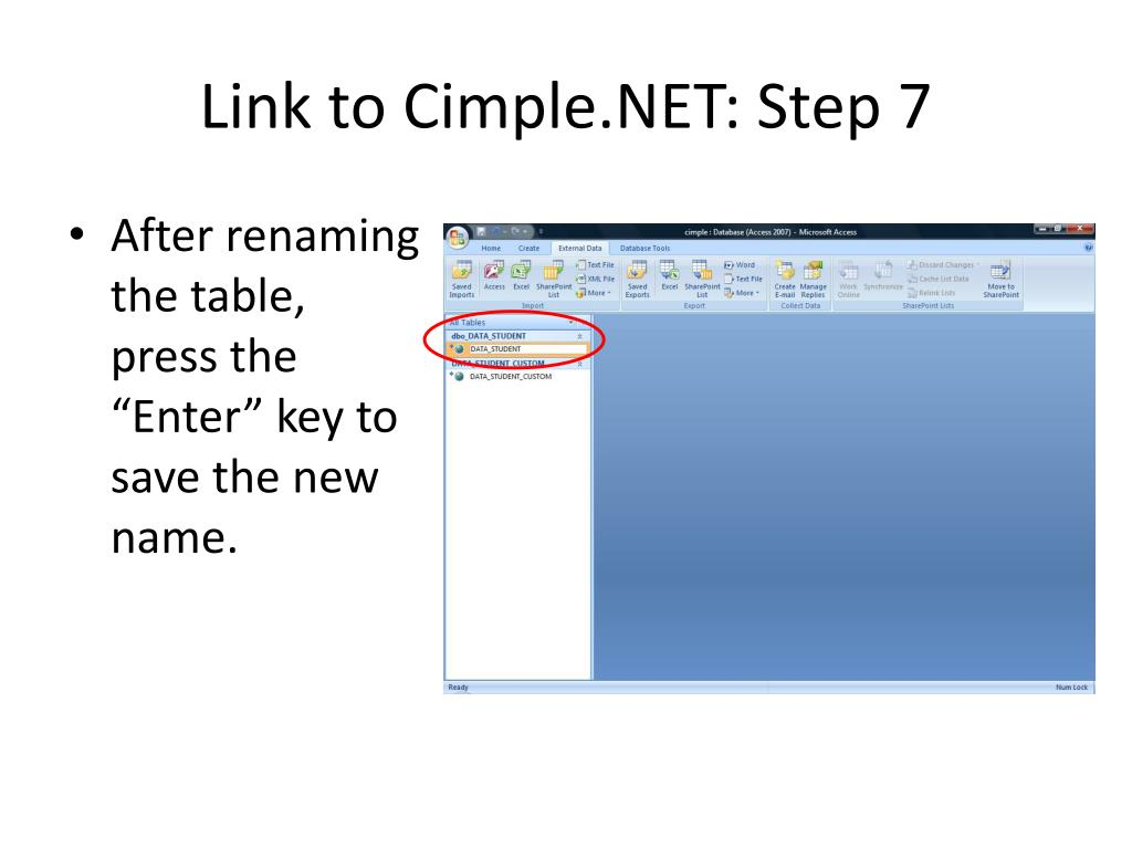 Link to Cimple.NET: Step 7