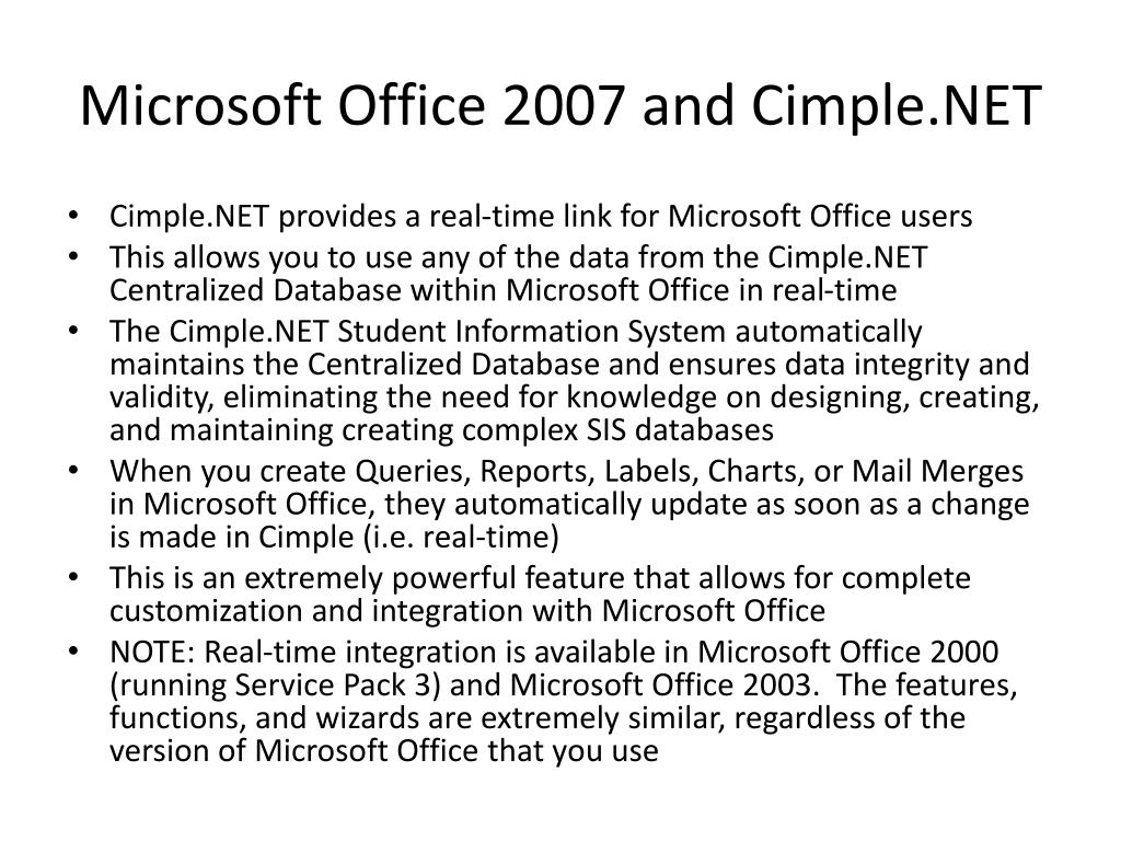 Microsoft Office 2007 and Cimple.NET