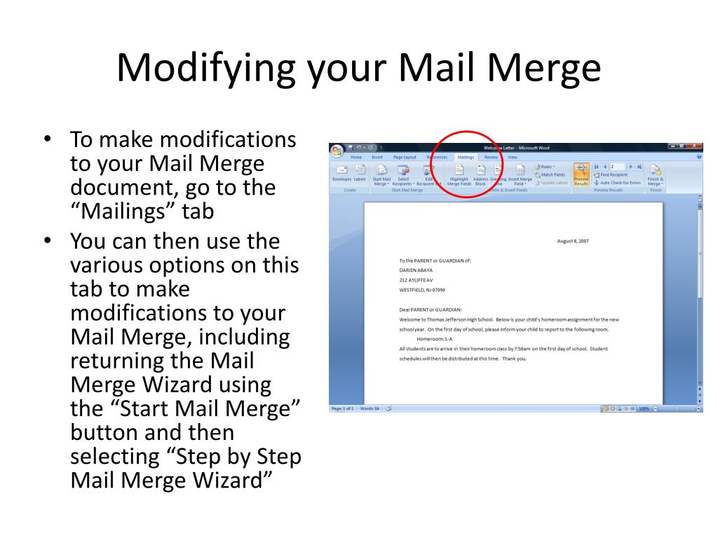 Modifying your Mail Merge