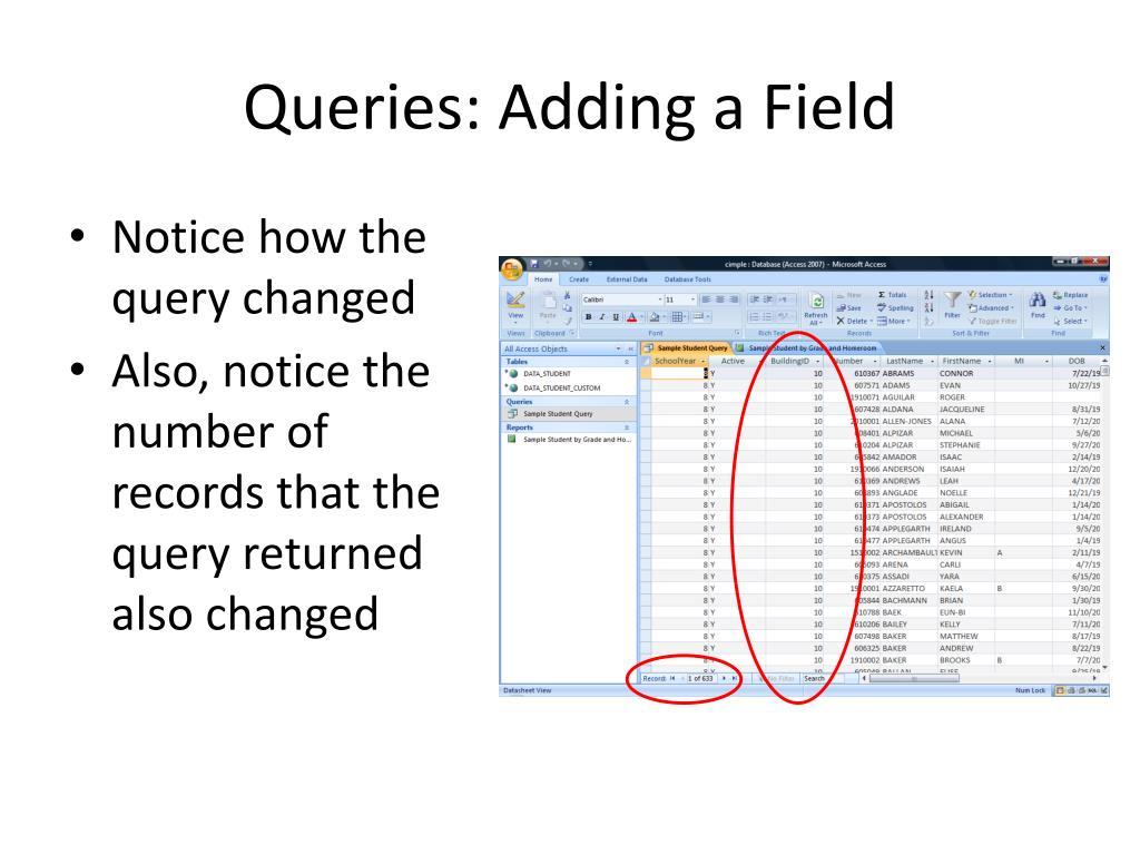 Queries: Adding a Field