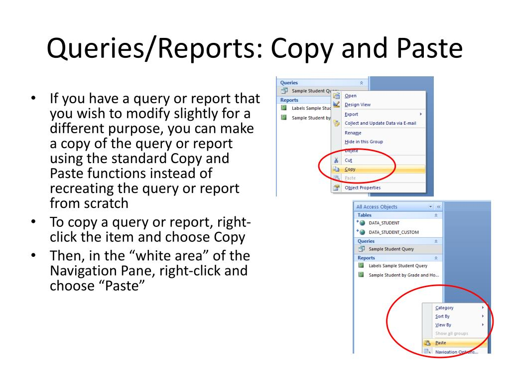 Queries/Reports: Copy and Paste