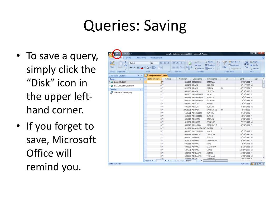 Queries: Saving