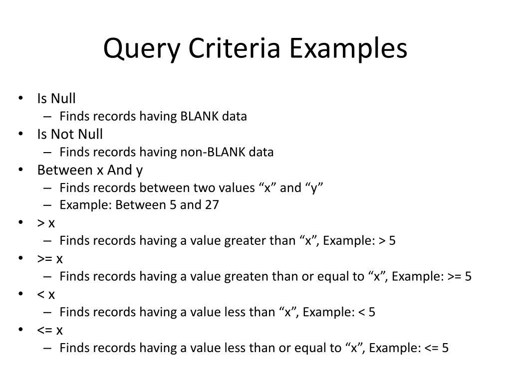 Query Criteria Examples