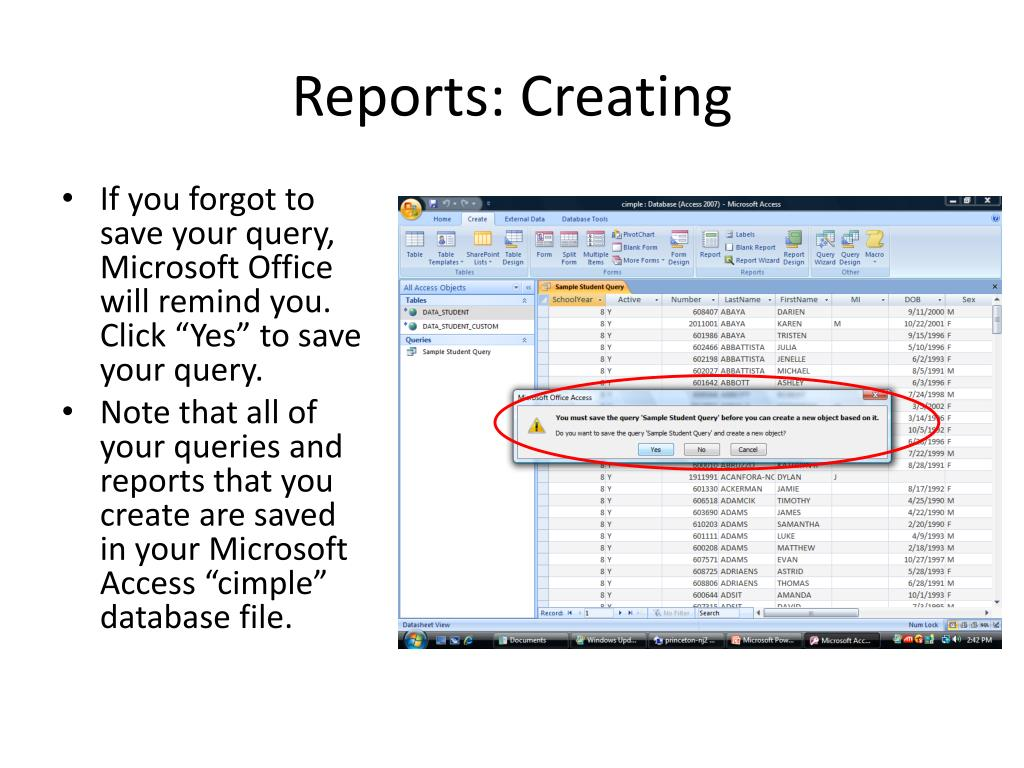 Reports: Creating