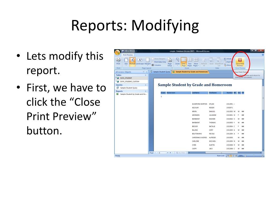 Reports: Modifying