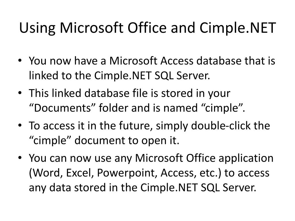 Using Microsoft Office and Cimple.NET
