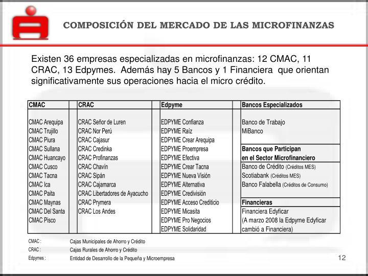 COMPOSICIÓN DEL MERCADO DE LAS MICROFINANZAS