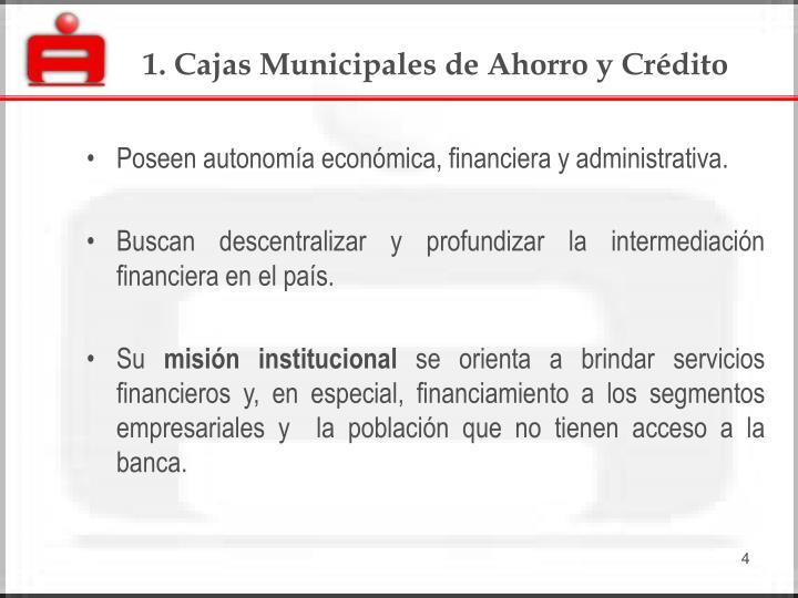 1. Cajas Municipales de Ahorro y Crédito