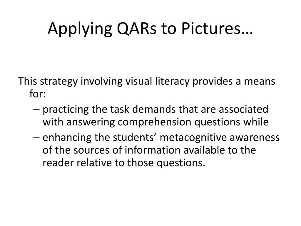 Applying QARs to Pictures…