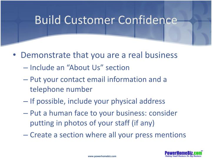 Build Customer Confidence