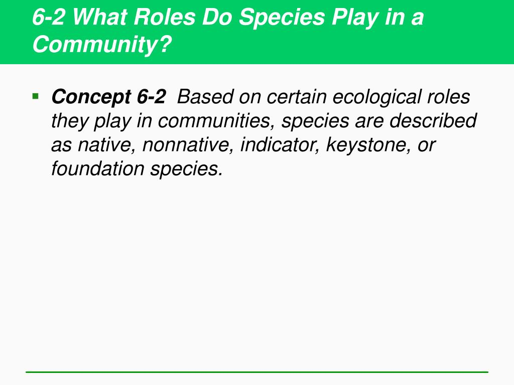 6-2 What Roles Do Species Play in a Community?