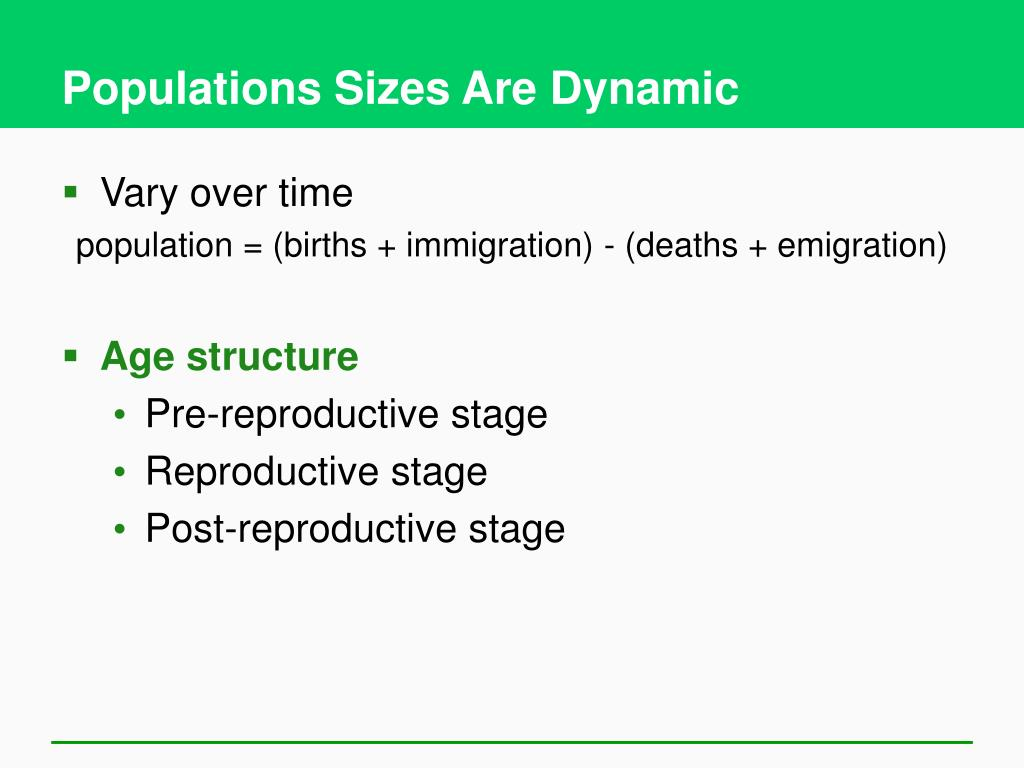 Populations Sizes Are Dynamic