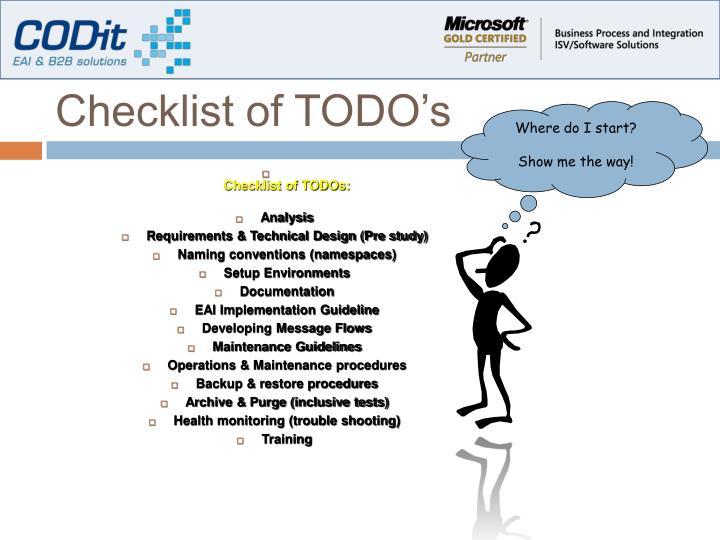 Checklist of TODO's