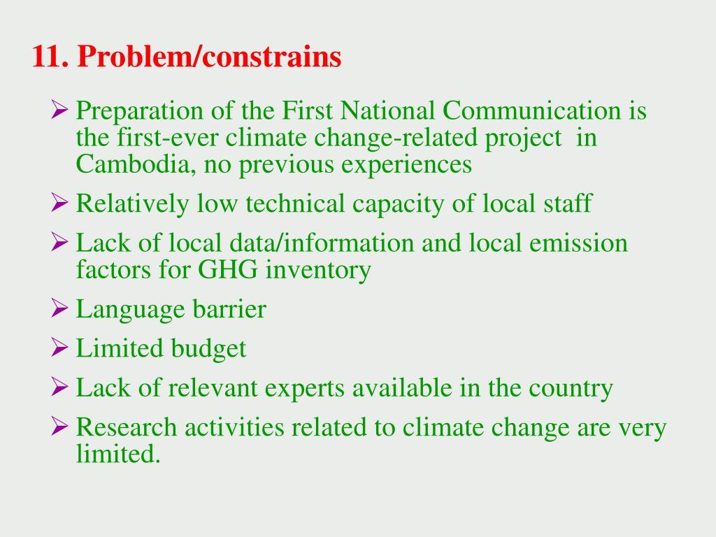 11. Problem/constrains
