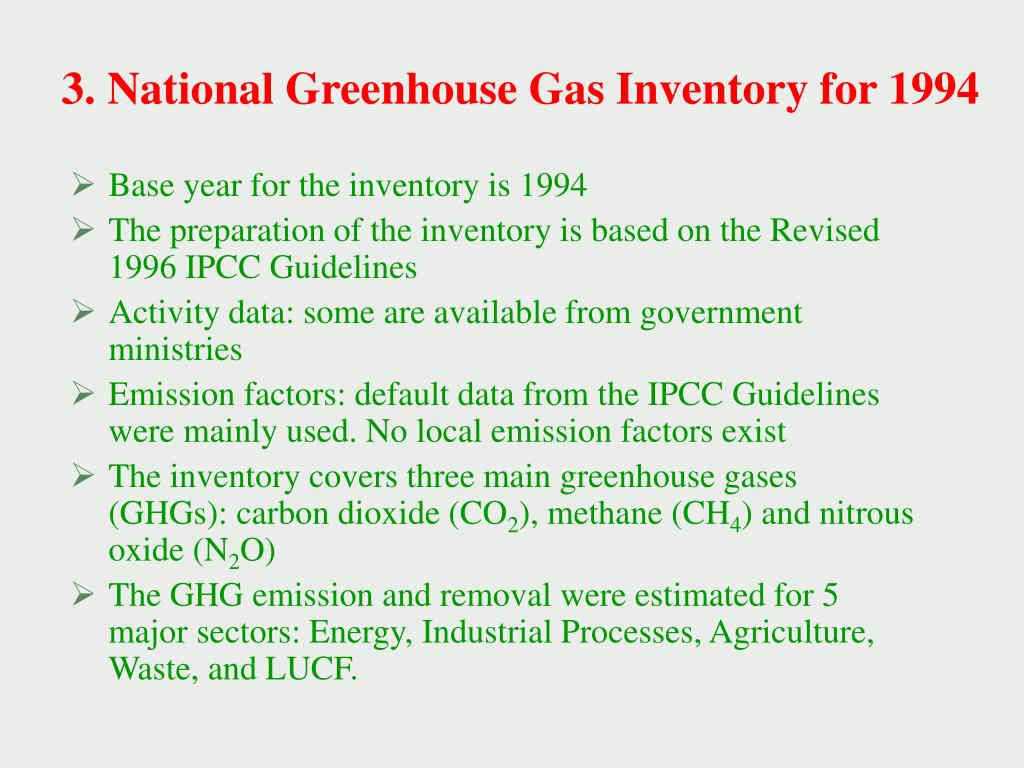 3. National Greenhouse Gas Inventory for 1994