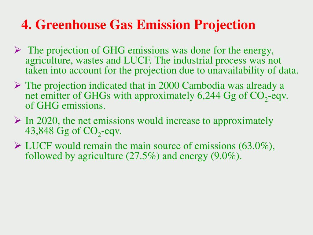 4. Greenhouse Gas Emission Projection