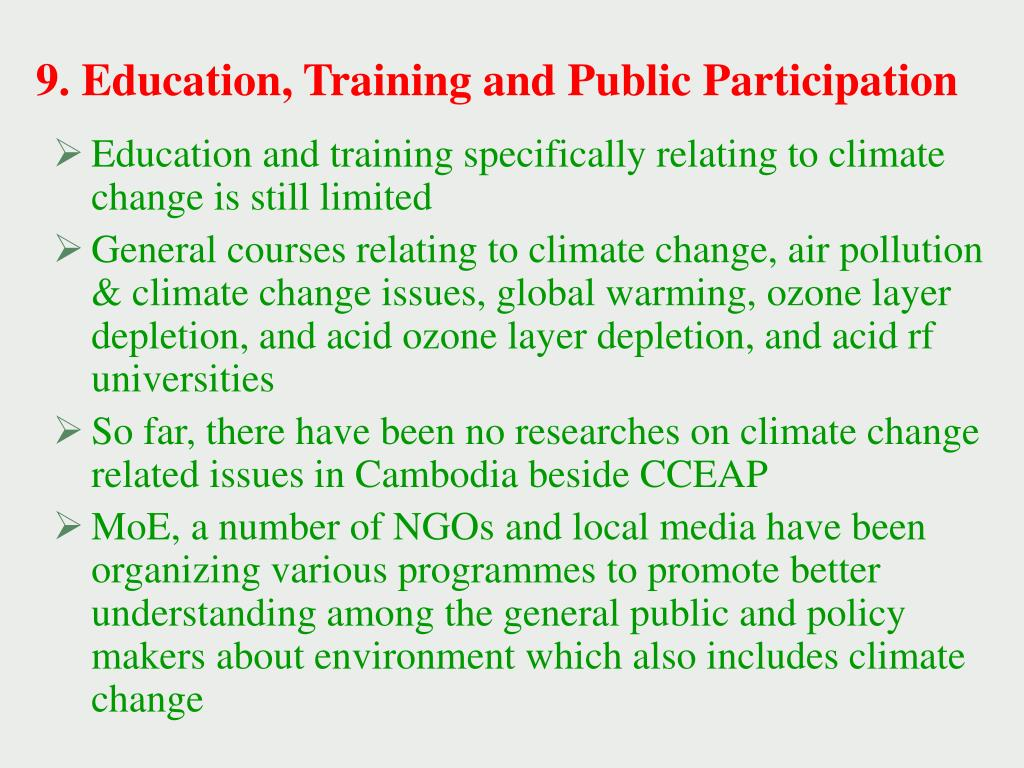 9. Education, Training and Public Participation