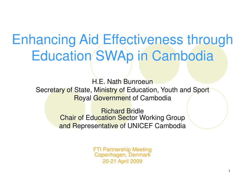 Enhancing Aid Effectiveness through Education SWAp in Cambodia