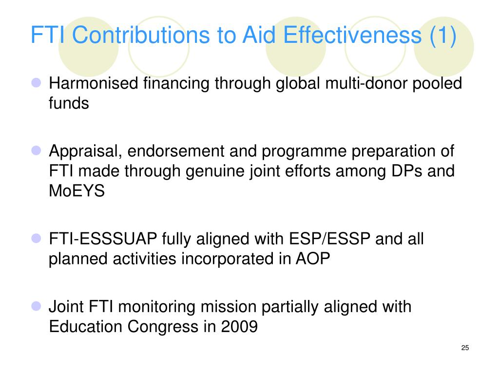 FTI Contributions to Aid Effectiveness (1)