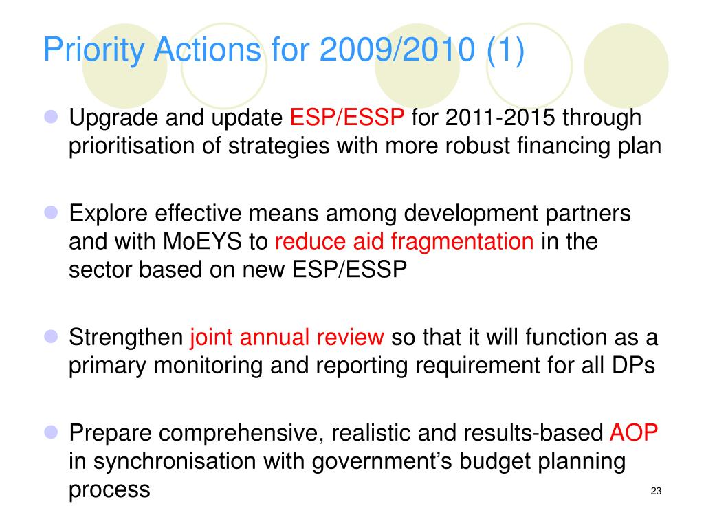 Priority Actions for 2009/2010 (1)