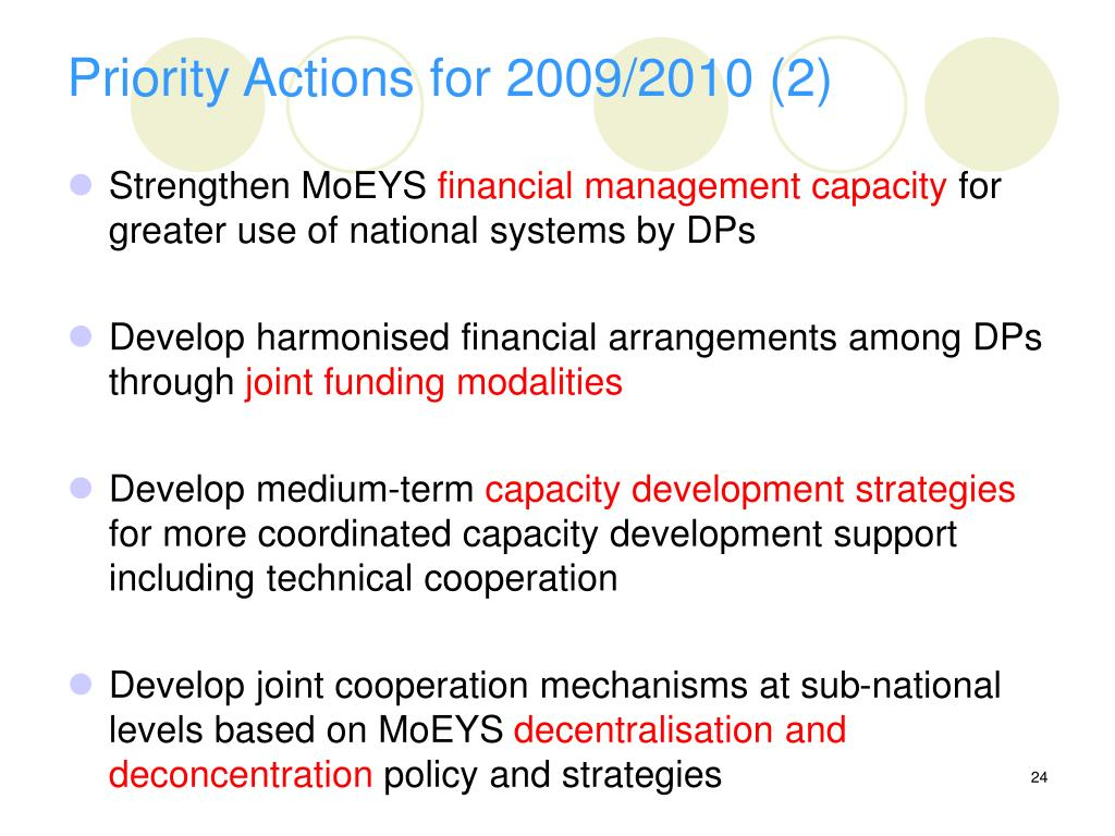 Priority Actions for 2009/2010 (2)