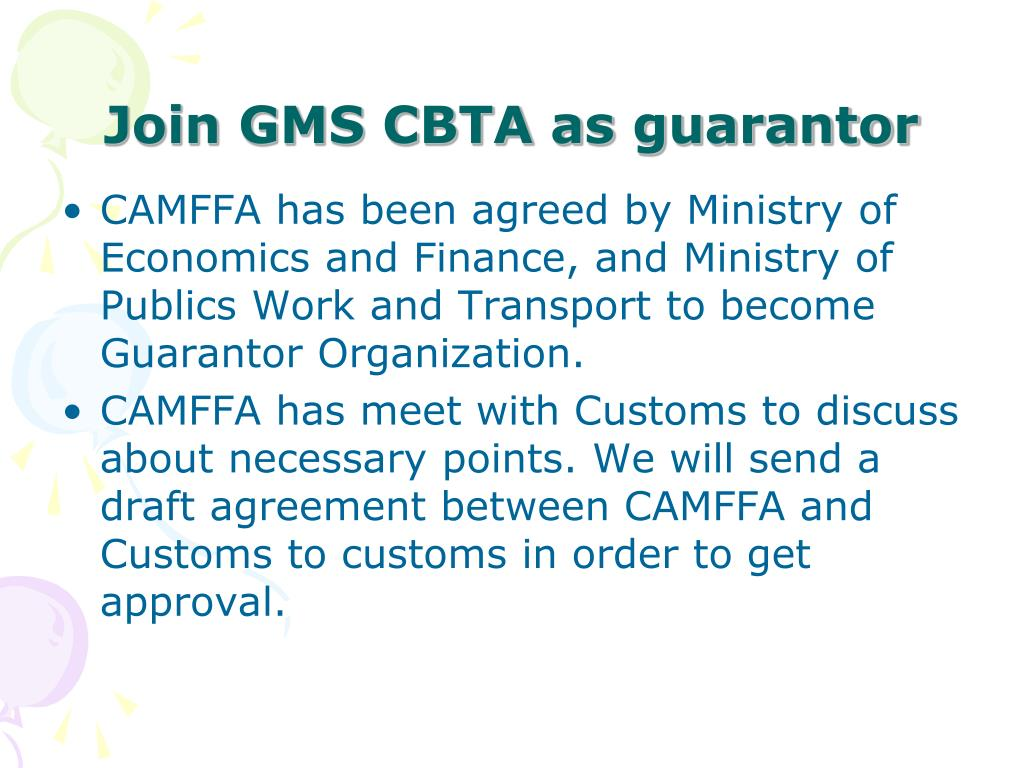 Join GMS CBTA as guarantor
