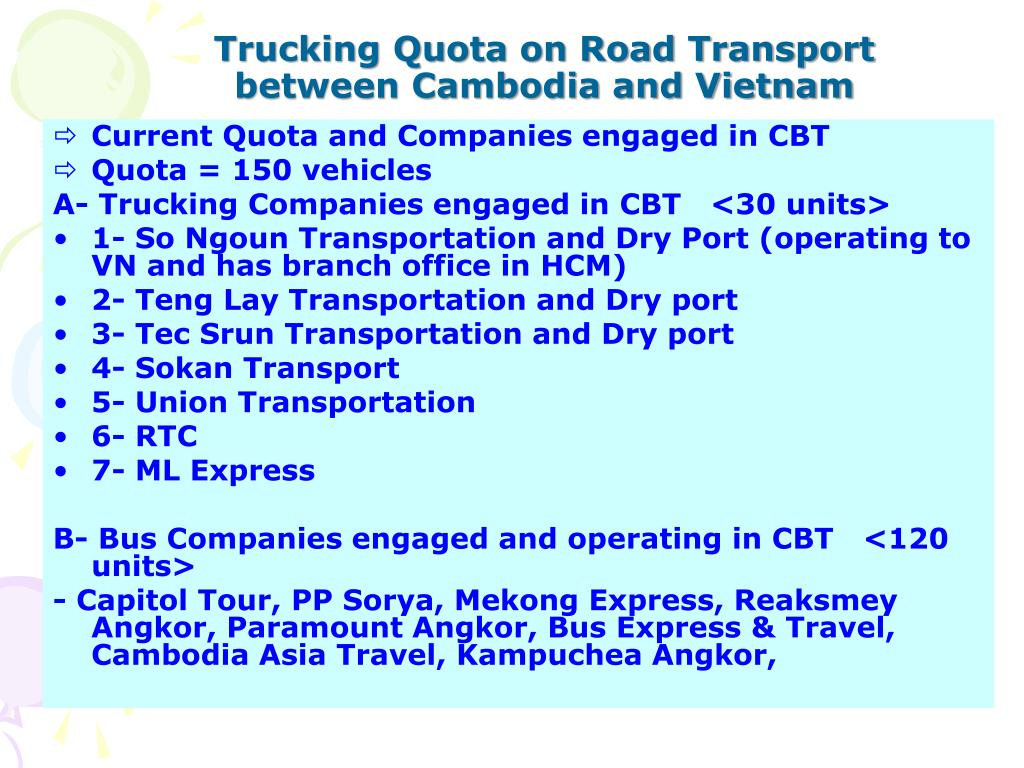 Trucking Quota on Road Transport