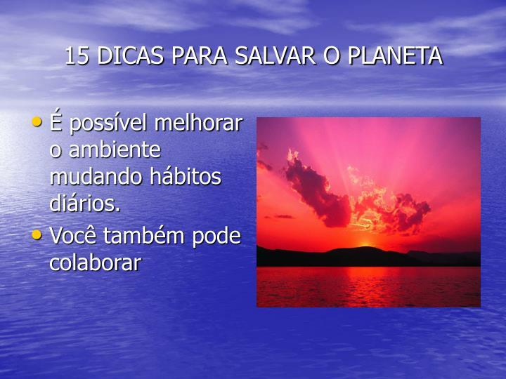 15 DICAS PARA SALVAR O PLANETA