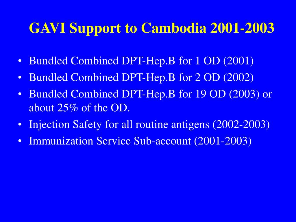 GAVI Support to Cambodia 2001-2003