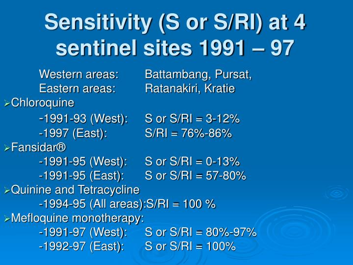 Sensitivity s or s ri at 4 sentinel sites 1991 97 l.jpg