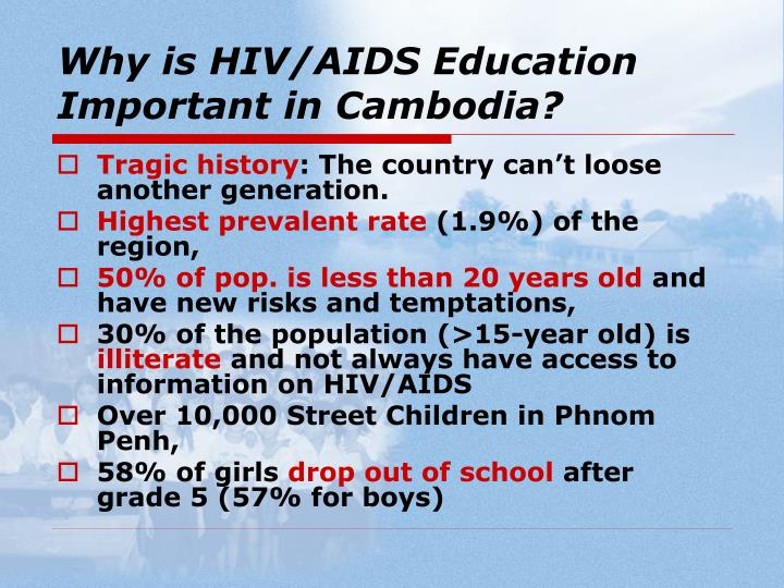 Why is hiv aids education important in cambodia