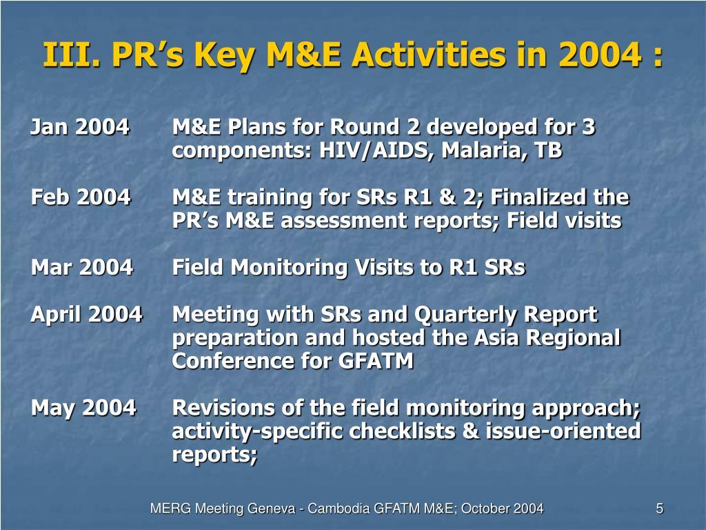 III. PR's Key M&E Activities in 2004 :