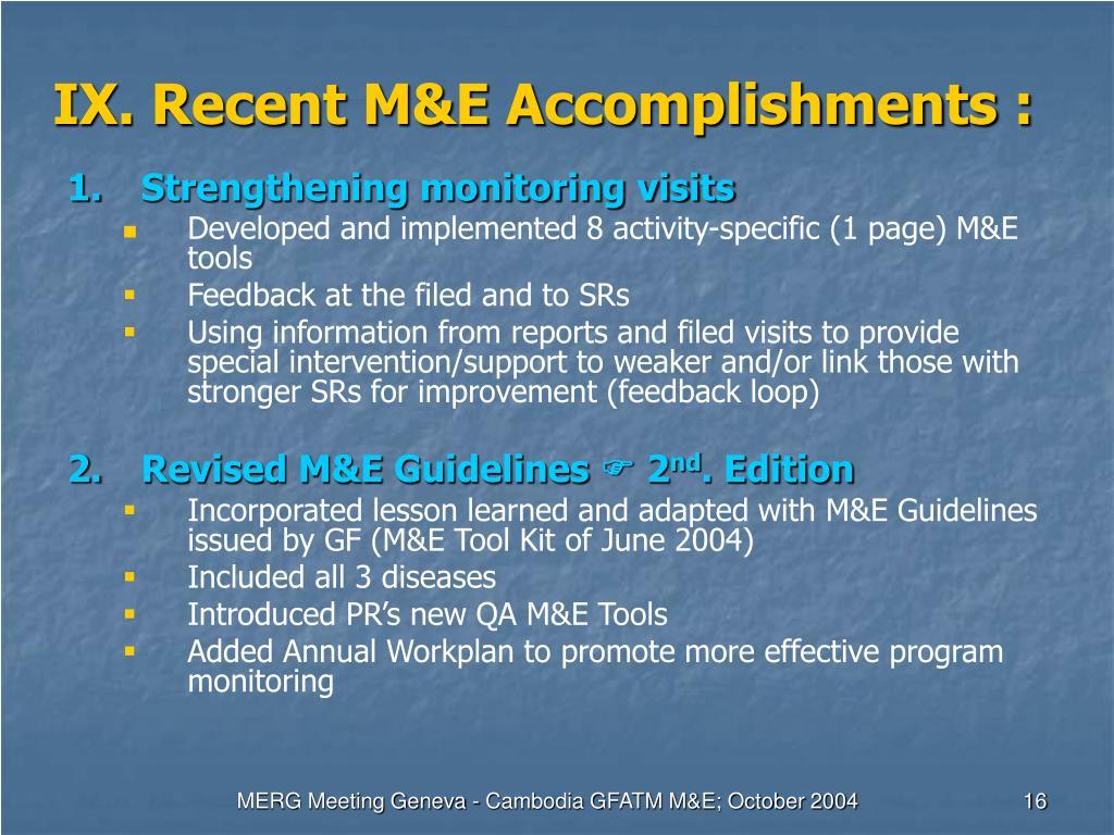 IX. Recent M&E Accomplishments :