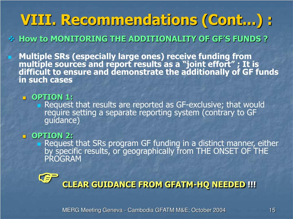 VIII. Recommendations (Cont...) :