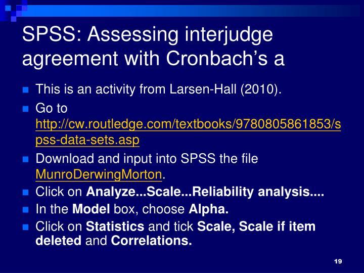 SPSS: Assessing