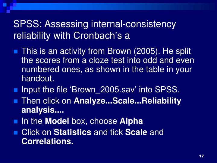 SPSS: Assessing internal-consistency reliability with